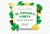 St. Or Saint Patricks Day Vector Background Design. La Fheile Padraig Holiday Banner Layout. Greeti poster
