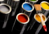 stock photo of paint brush  - Paints and brushes to decoration and art painting - JPG