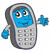 Grey cell phone with blue display - vector illustration.