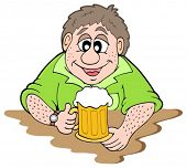 Beer drinker on white background - vector illustration.