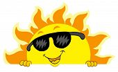 Cute lurking Sun with sunglasses - vector illustration.