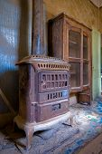 Interior Of An Abandoned House In Bodie Ghost Town, California poster