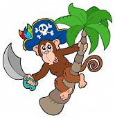 Pirate monkey with palm tree - vector illustration.