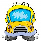 Cartoon taxi car - vector illustration.