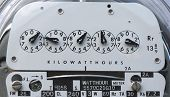 pic of electricity meter  - US Electric Meter close up showing dials and power use - JPG