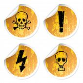 image of chemical weapon  - Set of warnings stickers - JPG