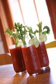 stock photo of bloody mary  - Three Bloody Mary Cocktail Drinks With High Depth of Field - JPG