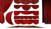 pic of cinema auditorium  - Dramatic red old fashioned elegant theater stage elements of swags to make your own background - JPG