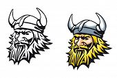 stock photo of berserk  - Ancient angry viking warrior as a mascot or tattoo - JPG