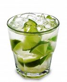 Caipirinha - National Cocktail of Brazil Made with Cachaca, Sugar and Lime. Isolated on White Backgr