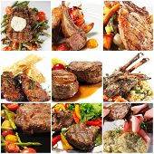 stock photo of veal meat  - Collage from Photographs of Hot Meat Dishes - JPG