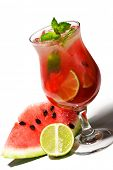 Watermelon Caipirinha - Cocktail with Watermelon, Cachaca, Rum, Sugar and Lime. Isolated on White Ba