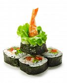 Vegetables and Shrimp Maki Sushi -  Roll made of Tomato, Cucumber, Bell Pepper, Salad Leaf and Shrim