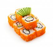 foto of masago  - California Maki Sushi with Masago   - JPG