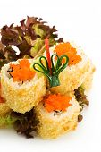 stock photo of masago  - Crispy California Maki Sushi with Masago   - JPG