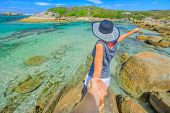 Australia Summer Holidays. Follow Me Pov. Woman In Hat Holding Hand Of Her Friend At William Bay Nat poster