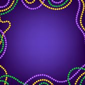 Mardi Gras Carnival Background With Colorfull Yellow, Purple, Green Beads Frame. Vector Illustration poster