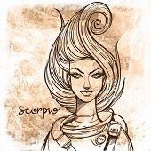 Scorpio In Vintage Style. Portrait Of A Girl. poster