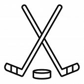 Ice Hockey Stick Icon. Outline Ice Hockey Stick Vector Icon For Web Design Isolated On White Backgro poster
