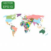 World Map Colorful Political Icon. Business Concept World Map Pi poster