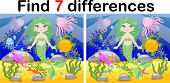 Find Differences, Game For Children, Mermaid Underwater In Cartoon Style, Education Game For Kids, P poster
