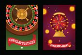 Fortune Wheel Vector Spin Game Casino Roulette With Arrow Congratulation For Lucky Winner Backdrop F poster