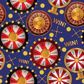 Fortune Wheel Seamless Pattern Vector Spin Game Casino Roulette With Arrow Lucky Winner Backdrop For poster