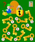 Logic Puzzle Game For Children And Adults. Help The Worker Find The Correct Key And Open The Lock. V poster