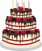 Three-tiered Wedding Or Birthday Cake In Chocolate, Decorated With Paspberries And Blueberries Isola poster