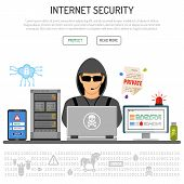 Cyber Crime, Hacking, Internet Security Concept With Flat Icons Hacker, Cloud, Server, Virus, Hackin poster