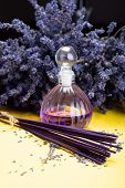 Natural Healthy Aromatherapy And Home Fragrance, Purple Lavender Incense Sticks And Diffuser On Yell poster