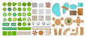 Vector Illustration Set Of Park Elements For Landscape Design. Top View Of Trees, Outdoor Furniture, poster