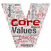 Conceptual core values integrity ethics letter font C concept word cloud isolated background. Collag poster