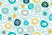 Winter Hibernation Of Forest Animals Seamless Pattern. Christmas Seamless Background With Sleeping A poster