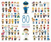 Kids Vector Characters Collection: Set Of 80 Different Professions In Cartoon Style. Women Edition. poster