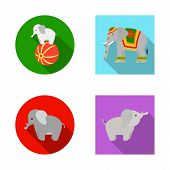Vector Design Of Elephant And Asian Icon. Collection Of Elephant And Elephant Stock Symbol For Web. poster