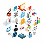 Development Of Ad Icons Set. Isometric Set Of 25 Development Of Ad Icons For Web Isolated On White B poster