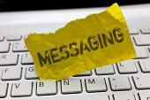 Text Sign Showing Messaging. Conceptual Photo Communication With Others Through Messages Texting Cha poster