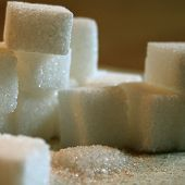 picture of sugar cube  - many white sugar cubes on a table - JPG