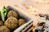 Danish Peppernuts (pebernodder). Traditional Christmas Danish Cookies In A Gift Box. Cozy Winter And poster