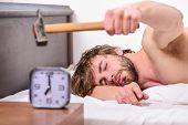 Annoying Sound. Stop Ringing. Annoying Ringing Alarm Clock. Man Bearded Annoyed Sleepy Face Lay Pill poster