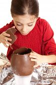 image of easter-eggs  - child with chocolate egg - JPG