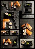 Постер, плакат: Коллекция суши на черном фоне