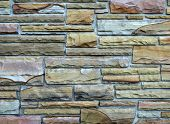 picture of fieldstone-wall  - Photo of a masonry field stone wall - JPG