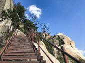Stairs Up And Beautiful Mountains Of Seoraksan National Park. South Korea poster