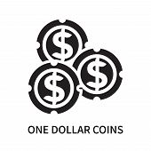One Dollar Coins Icon Isolated On White Background. One Dollar Coins Icon Simple Sign. One Dollar Co poster