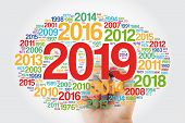 2019 Happy New Year And Previous Years Word Cloud With Marker poster