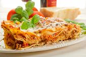 stock photo of lasagna  - lasagna on dish - JPG