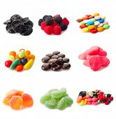 stock photo of sugar paste  - collage variety of candy - JPG