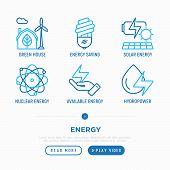 Energy Thin Line Icons Set: Green House, Wind Energy, Light Bulb, Solar Energy, Nuclear Energy, Hydr poster